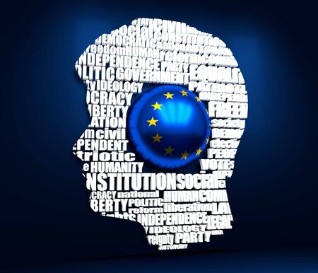Foto de Head of man filled by word cloud. Words related to politics, government, parliamentary democracy and political life. Flag of the European Union. 3D rendering - Imagen libre de derechos