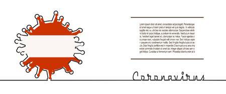Illustration pour Abstract virus silhouette and Coronavirus text in thin line style. Coronavirus virus danger relative illustration. Medical research theme. Virus epidemic alert. Flag of the Austria - image libre de droit