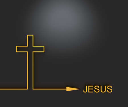 Foto de Christianity concept illustration. Cross and Jesus word. 3D rendering - Imagen libre de derechos