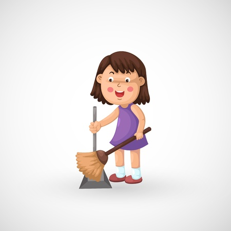 illustration of isolated a girl cleaning floor vector