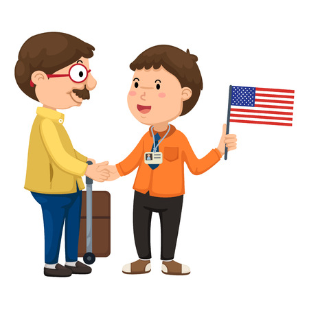 Illustration of tourists and guide vector