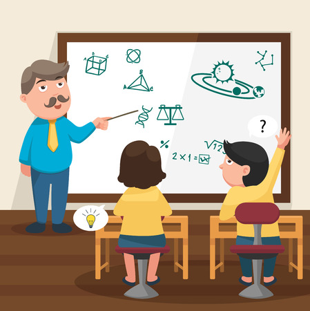 The teacher teaching his students in the classroom illustration, vector