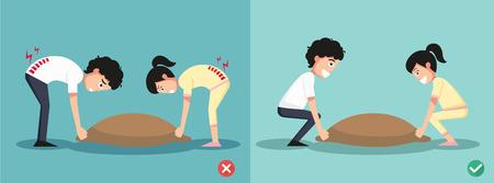 Improper versus against proper lifting ,illustration