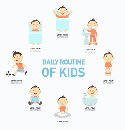 Daily routine of kids infographic,vector illustration.