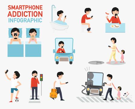 Smartphone addiction infographic.vector illustration