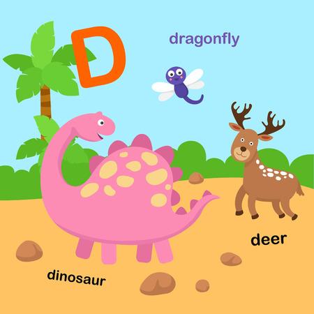 Illustration for Illustration Isolated Alphabet Letter D-deer,dinosaur,dragonfly.vector - Royalty Free Image