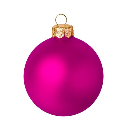 Pink dull christmas ball on white background