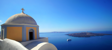 Photo for Panoramic view of the Caldera with cruise ship in Santorini, Greece - Royalty Free Image
