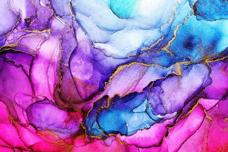 Foto de Alcohol ink abstract background, macro photo - Imagen libre de derechos