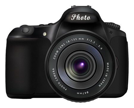 Modern black digital single-lens reflex camera isolated on white background