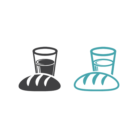 Set of two vector icons. Flat design Monochromeのイラスト素材