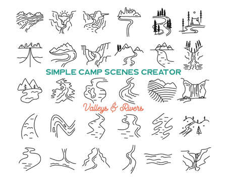 Illustration for Simple vector mountains valleys and rivers icons shapes set. Outdoor adventure line art mountain elements bundle. Silhouette linear concept. Stock vector collection - Royalty Free Image