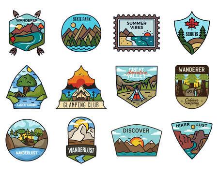 Illustration pour Travel adventure collection, Vintage camping emblems. Hand drawn hiking emblems, mountain stickers designs bundle. Discover, state park badges, scouts labels. Stock vector. - image libre de droit