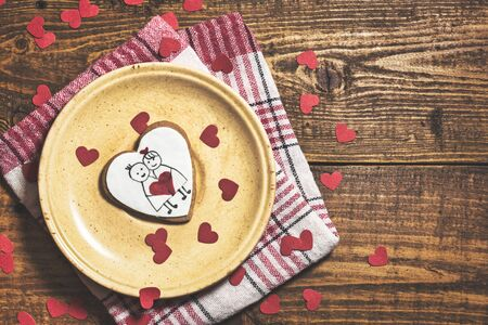 Photo for Heart shaped cookie for valentine's day on rustic wooden background. Top view with copy space. - Royalty Free Image