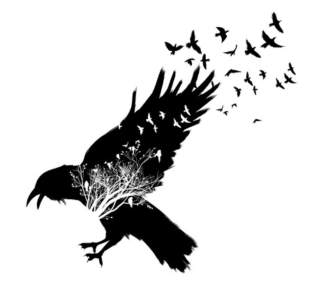 Illustration pour Raven double exposure. - image libre de droit