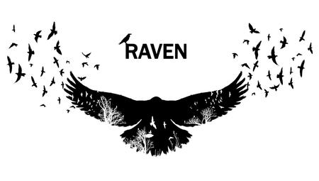 Illustration pour Flying raven double exposure. - image libre de droit
