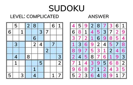 Illustration pour Sudoku. Kids and adult mathematical mosaic. Magic square. Logic puzzle game. Digital rebus. Vector illustration - image libre de droit