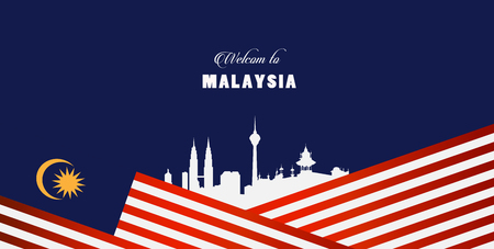 Illustration pour Vector illustration malaysia flag and welcome to malaysia sign. - image libre de droit
