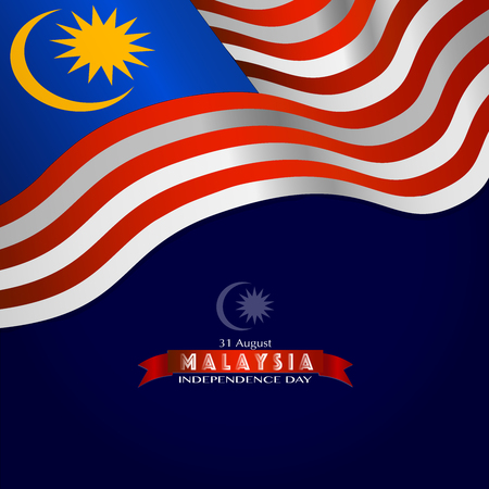 Illustration pour Vector Ilustration of Malaysia INDEPENDENCE DAY and Malaysia flag - image libre de droit