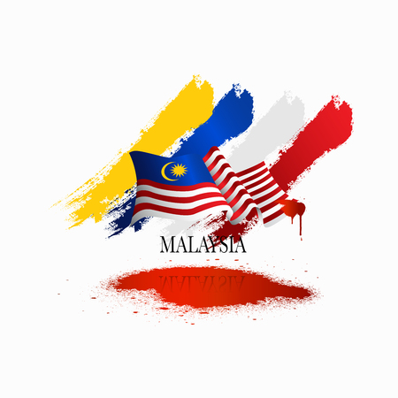 Illustration pour Vector illustration malaysia flag with Malaysia  text. Banner or templet for broucher art element. - image libre de droit