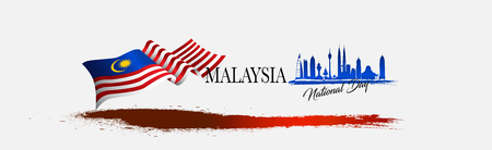 Vector illustration malaysia flag with Malaysia  text. Banner or templet for broucher art element.