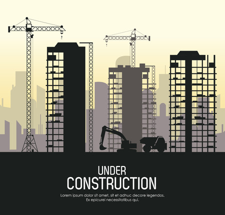 Under construction concept with city icon design