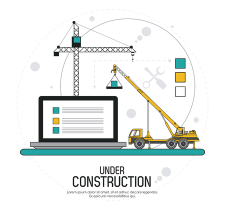 Under construction concept with tools icon design