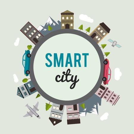 Illustration pour Smart city concept with building icon design, vector illustration 10 eps graphic. - image libre de droit