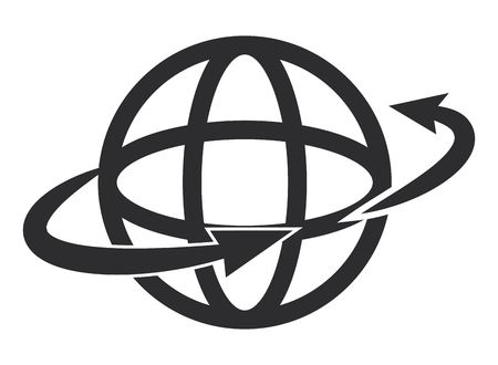 earth globe diagram with two arrows surrounding it vector illustration