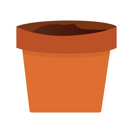 simple orange clay plant pot vector illustration