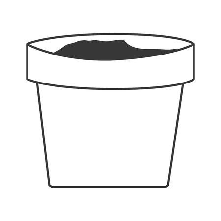 simple black line clay plant pot vector illustration
