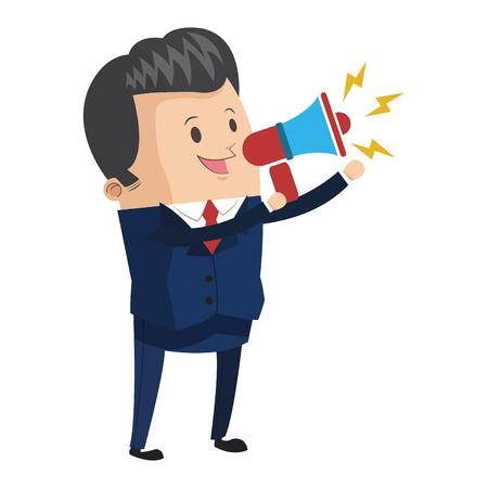 Illustration pour flat design businessman holding megaphone icon vector illustration - image libre de droit
