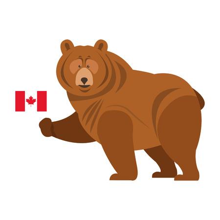 Ilustración de flat design grizzly bear with canadian flag icon illustration - Imagen libre de derechos