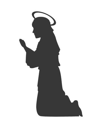 Illustration pour flat design virgin mary silhouette icon vector illustration - image libre de droit