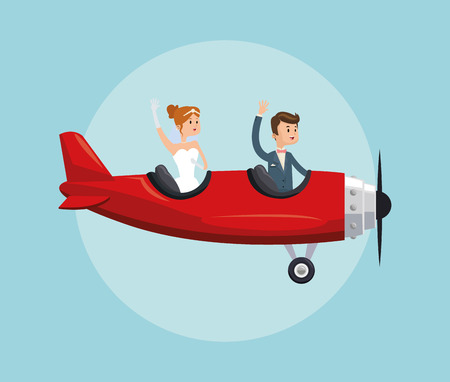 Photo pour airplane couple cartoon girl boy man woman save the date wedding icon. Colorfull and flat illustration. Vector graphic - image libre de droit