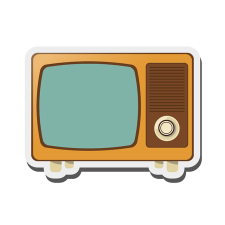 flat design retro tv icon vector illustration