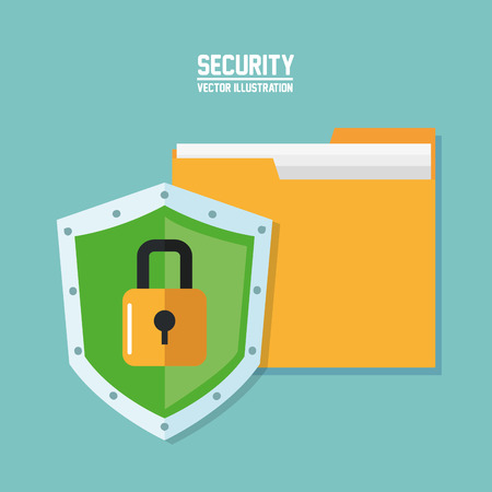 file padlock cyber security system technology icon. Colorful and flat design. Vector illustration