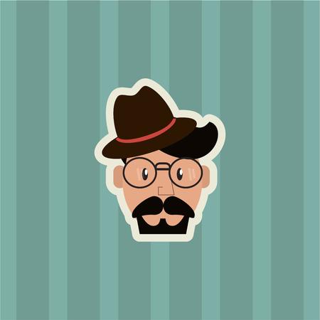 Illustration for flat design hipster man emblem image with striped background vector illustration - Royalty Free Image