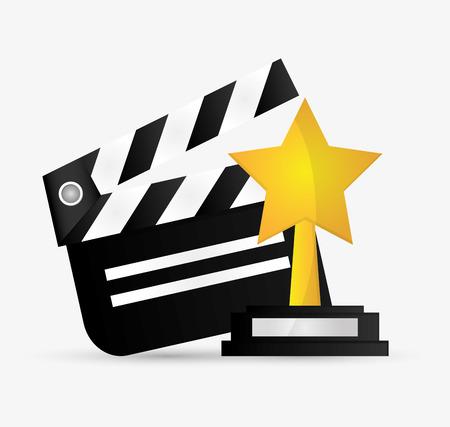 Illustration pour Clapboard and star trophy icon. Cinema movie video film and entertainment theme. Colorful design. Vector illustration - image libre de droit