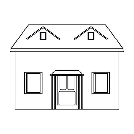 house facade loft outline icon vector illustration eps 10