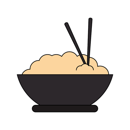 bowl with noodle icon over white background. colorful design. vector illustration