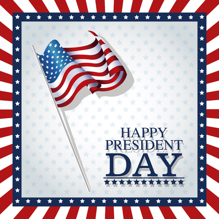 happy president day stars frame flag vector illustration