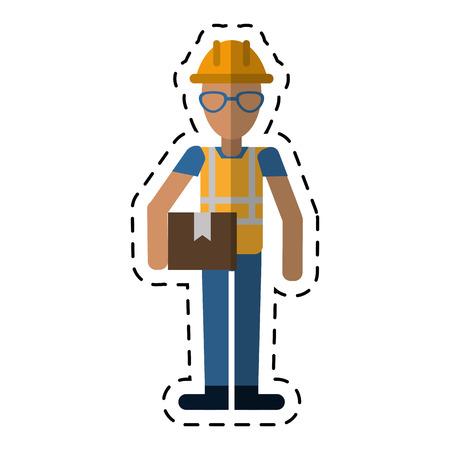 construction man glasses cardboard box-dot line vector illustration