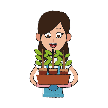 gardener woman holding a plant in a pot cartoon icon over white background. vector illustrationのイラスト素材