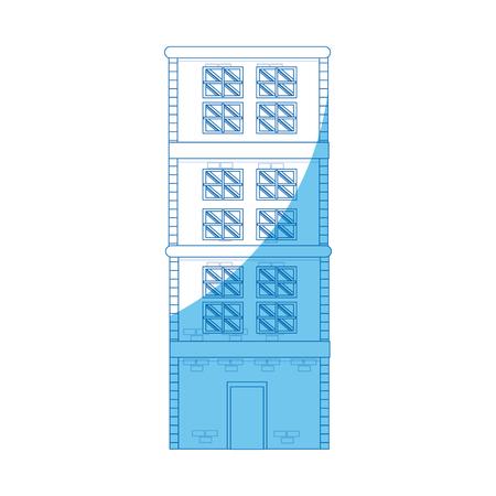 building home brick construction architecture blue linevector illustration