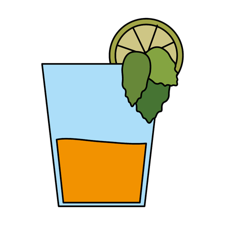 color image cartoon glass cup of cocktail with lemon and leaves vector illustration