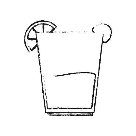 blurred silhouette glass cup of cocktail with lemon and cherry vector illustration