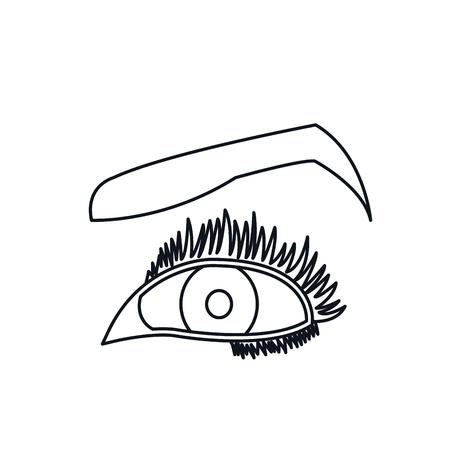 female eyes mascara cartoon style line vector illustration