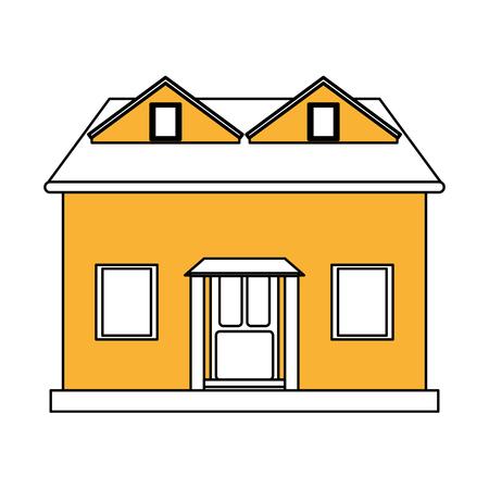Color Silhouette Cartoon Yellow Facade House With Attic Vector