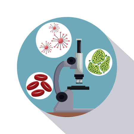 circular frame shading of poster closeup microscope with icons of globules and cells vector illustration